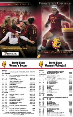 Women's Soccer and Women's Volleyball Pocket Schedules
