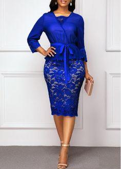 Hot Sale & Belted Royal Blue Three Quarter Sleeve Lace Dress - Brenda O. African Fashion Dresses, African Dress, Belted Dress, The Dress, Eyelet Dress, Dress Red, Elegant Dresses, Casual Dresses, Trendy Dresses