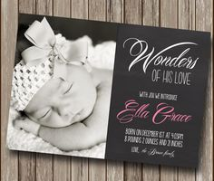Chalkboard Christmas Birth Announcement - Holiday Card - Christmas Card  Digital You Print File - Printable