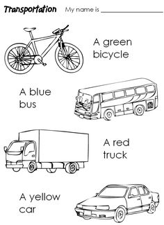 Handouts/Worksheets for teachers of english and french transportation theme Transportation Preschool Activities, Coloring Worksheets For Kindergarten, Transportation Worksheet, Kindergarten Colors, Preschool Coloring Pages, Numbers Kindergarten, Transportation Theme, Teacher Worksheets, Alphabet Worksheets