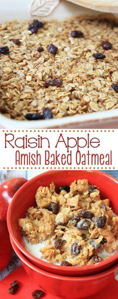 Raisin Apple Amish Baked Oatmeal - diced apples, raisins, old fashioned oats…
