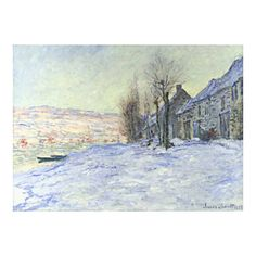 Monet Lavacourt Under Snow, from Monet page, public domain clip art... ❤ liked on Polyvore featuring winter, art, backgrounds, paintings and christmas items