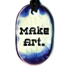 Make Art Ceramic Necklace in Purple Crackle and Blue by surly, $18.00