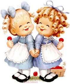 amistad Vintage Pictures, Vintage Images, Cute Pictures, Cute Cartoon Girl, Sarah Kay, Precious Children, Baby Art, Cute Dolls, Cute Illustration