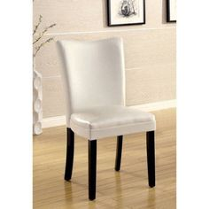 Furniture of America Callian 2-Piece Contemporary Leatherette Dining Chair, Multiple Colors, White