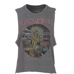 CHASER LA Iron Maiden Grey Band top with print (71 CAD) ❤ liked on Polyvore featuring tops, shirts, tank tops, t-shirts, seamless tank, pattern shirts, sleeveless tops, oversized tank top and sleeveless tank tops