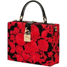 Dolce & Gabbana Embroidered Box Bag featuring polyvore fashion bags handbags accessories dolce & gabbana dolce gabbana purse foldover purse flower purse rose purse python purse
