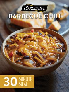 As the weather cools, keep warm with this hearty fall dish of bean and cheese chili that's sure to please. This 30 minute meal is made with seasoned ground beef, barbecue sauce, onions, tomatoes, black beans, bacon and, you guessed it...lots of shredded cheese. It's the perfect fall comfort food for hosting the whole family or as a unique Thanksgiving side dish. Need other ideas for holiday meal planning? Get this recipe and more at Sargento.com.