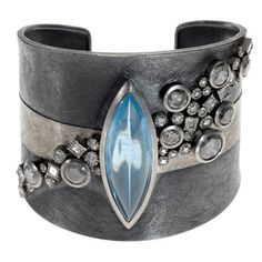 Bracelet /Todd Reed / Palladium and sterling silver with patina, aquamarine, gray brilliant cut diamonds, white princess cut diamonds and white brilliant cut diamonds Jewelry Art, Silver Jewelry, Jewelry Accessories, Fine Jewelry, Jewelry Design, Fashion Jewelry, Unique Jewelry, Silver Cuff, Steampunk Fashion