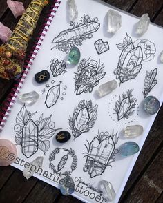 WEBSTA @ stephanietattooer - Spent yesterday arvo drawing all of these crystal pieces based on all of my quartz points! I would love to tattoo these babies, please pm me if interested  smudge stick is from the beautiful @lacrymosaslair ✨