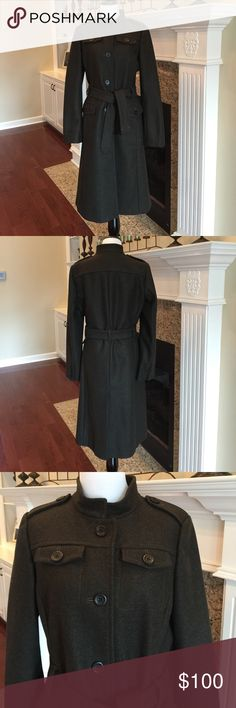 Banana Republic Long Military-Style Wool Overcoat Well, I live in Alabama...sometimes we have Winter some years we don't!  Therefore, this coat is in like new condition. The color is somewhere between gray, olive and brown. Super nice coat, in super nice condition. Banana Republic Jackets & Coats