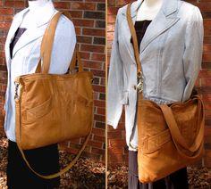 Recycled Leather Handbag / Messenger - Nutmeg Brown - Upcycled Leather Bag