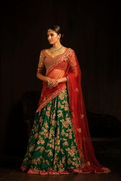 Bridal Lehenga With Red Choli And Green Lehenga in Shyamal And Bhumika Bridal Wear Collection by Shyamal & Bhumika Designer Bridal Lehenga, Indian Bridal Lehenga, Indian Bridal Wear, Indian Wedding Outfits, Bridal Outfits, Indian Outfits, Indian Sarees, Indian Wear, Indian Weddings