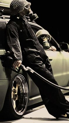 funny, gas masks, gas, Nike, gas station, Audi A4