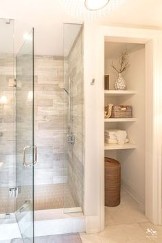 Bathroom Remodel - Every bathroom remodel starts with a design idea. From traditional to contemporary to beach-inspired, bathroom design options are endless. Our gallery showcases bathroom remodeling… Small Bathroom Storage, Bathroom Closet, Bathroom Renos, Upstairs Bathrooms, Basement Bathroom Ideas, Small Bathroom Showers, Small Master Bathroom Ideas, Bathroom Organization, Master Bathrooms