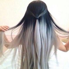 Black to white grey ombré hair