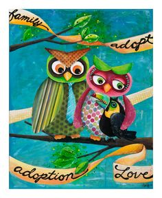 Owls Adopt a Toucan...original collage/mixed media. I do have prints for sale as well. Let me know if you are interested.   **I am able to create custom art for bigger families if anyone is interested.  Thanks Tiffany cunliffe!