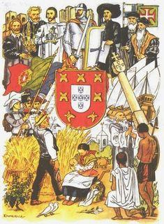 Portugal from Minho to Timor - Estado Novo Propaganda History Of Portugal, Spain And Portugal, Lisbon Portugal, Portuguese Empire, Portuguese Language, Vintage Ads, Vintage Posters, Vintage World Maps, Naruto Tattoo