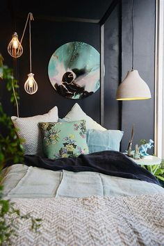 Bedouin Societe Linen - Duvet Cover Amazing bed room decoration with a beautiful bed sheet & pillows and a elegant lighting and also a wall canvas print as well as other elegant accessories. It's a modern and classic interior bed room decoration idea. http://www.urbanroad.com.au/