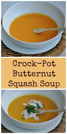 Super simple Butternut Squash Soup made right in your crock-pot. Just five ingredients. Paleo and Whole 30 Friendly.