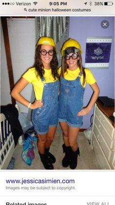 Hi Pretties! We love DIY projects and are excited to share another one with you! With Halloween so close, easy last minute DIY costumes are a great help! Katie shares with us how to make your own … Purple Minion Costume, Adult Minion Costume, Despicable Me Costume, Minion Halloween Costumes, Homemade Minion Costumes, Halloween Kostüm, Halloween College, Diy Minion Kostüm, Girl Minion