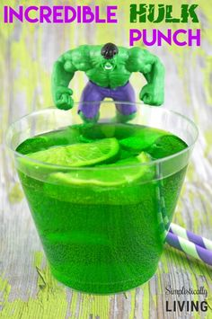How to make this mighty GREEN and mighty YUMMY Incredible Hulk Punch! Perfect for a super hero party or and Avengers Party! #Avengers #BirthdayParty