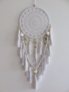 White Crochet 27cm Web Boho Dream Catcher Pom Poms & Tassels 90cm Total Length