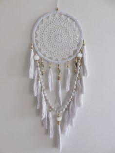 White Crochet 27cm Web Boho Dream Catcher Pom Poms & Tassels 90cm Total Length