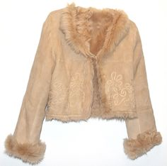 BEIGE TOSCANA  SUEDE FINISH SHEEPSKIN WOMEN SHORT JACKET BY OLLY LONDON (SIZE S)