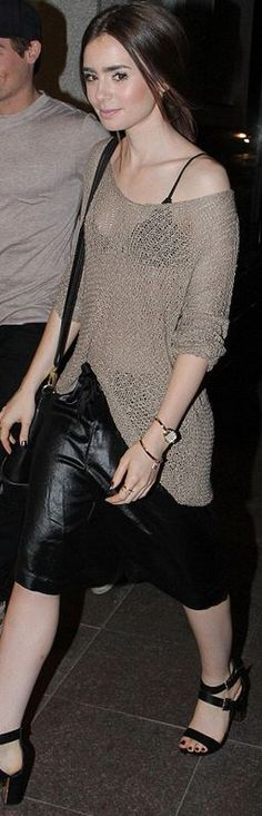 Who made Lily Collins' black sandals, black leather handbag, and brown sweater that she wore in Toronto on August 16, 2013?