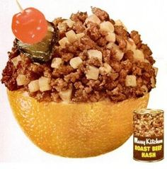 Roast Beef Hash with pickle-cherry garnish, in an orange cup.