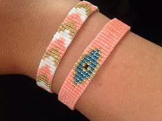 Easy friendship bracelets for beginners: Flat Snake bracelet: loom bead woven bracelet for women with Loom Bracelet Patterns, Bead Loom Bracelets, Bead Loom Patterns, Woven Bracelets, Jewelry Patterns, Handmade Bracelets, Snake Bracelet, Bracelet Set, Diy Jewelry