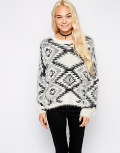 Enlarge Kiss The Sky Brushed Knit Sweater In Geo-Tribal Pattern