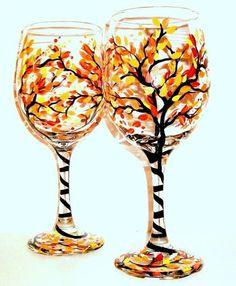4 art - four season birch tree, painted glass wine