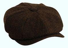 313f0e6516a72 Shelby   Brown Herringbone Button Top Cap By Gamble   Gunn (53cm). Peaky  Blinders.