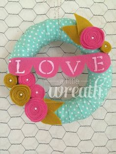 Mustard Yellow Pink & Mint PolkaDot LOVE Wreath by alittlewreath