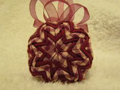 Deep Red and Cream Primitive Quilted Ornament by TreasureBlocks, $25.00