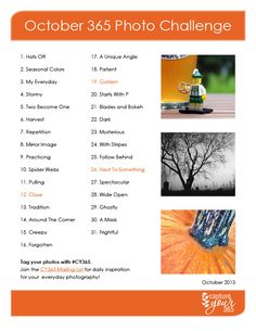 Here's an October 365 Photo Challenge List that will get you and your family photo-ready for Halloween!