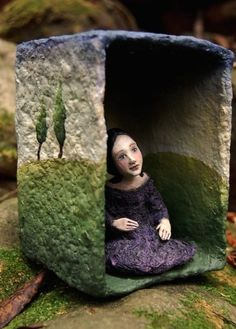 Shadow box art doll sculpture by CristinaGrueso on Etsy