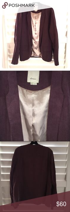 Elevenses Purple Tencel Blazer, Size 12 This is such a beautiful Blazer from Elevenses that I purchased at Anthro. It feels like your wearing silk! I love the drape, muted purple color, clean lines and flattering fit. This item is in like new, excellent condition - no signs of wear. Additional details: Size 12, open style, two front pocket; shell is 100% tencel and lining is 100% polyester. Fits TTS. Tres chic! Anthropologie Jackets & Coats Blazers