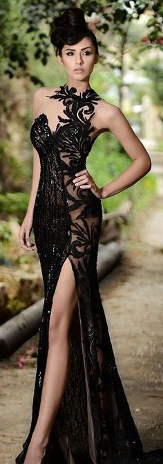 Black Lace Evening Dress | You can find this at => http://feedproxy.google.com/~r/amazingoutfits/~3/s3X6zEJPc40/photo.php