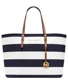 stripes MICHAEL Michael Kors Handbag, Jet Set Stripe Medium Travel Tote - Tote Bags - Handbags & Accessories - Macys
