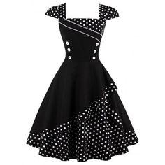 GET $50 NOW   Join Dresslily: Get YOUR $50 NOW!http://m.dresslily.com/buttoned-polka-dot-vintage-dress-product2034911.html?seid=C5lOQf7h7E4rjl4G9v1AOK7O9C