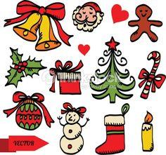 Arte vectorial : Christmas sketch icons set