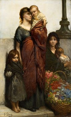Artist : Gustave Doré (French , 1832 - 1883) Title : Flower Sellers of London…
