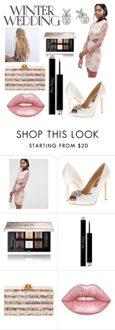 """""""winter wedding contest"""" by serenaamy ❤ liked on Polyvore featuring Missguided, Hannah Martin, Badgley Mischka, Givenchy, Christian Dior, Edie Parker, Lime Crime and Majorica"""