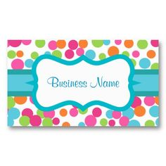 24 Hour Shipping on most orders. Bright Polka Dots Business Card created by suncookiez. This design is available on several paper types and is totally customizable. Cake Business, Business Cards, Baking Business, Calling Cards, Name Cards, Craft Party, Projects To Try, Polka Dots, Stationery