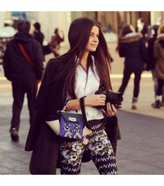 Patterned pants with a plain white makes a statement but doesn't look busy