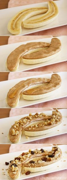 Healthy morning power snack--banana, peanut butter, honey, nuts, raisins. Great idea! Seems like a really luxurious treat!