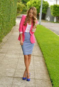 Blue Blazer+Striped Pencil Skirt